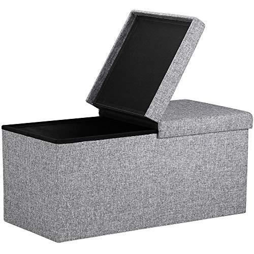 Deuba Faltbare Sitztruhe mit Stauraum 100 L Deckel klappbar 80x40x40 cm Grau Stoff Truhenbank Sitzbank Truhe Bank Hocker