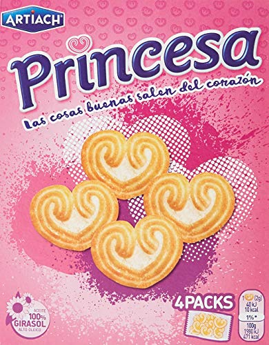 Artiach, Princesa - Galletas con corazón, 4 paquetes de 30 gr. (120 gr.)