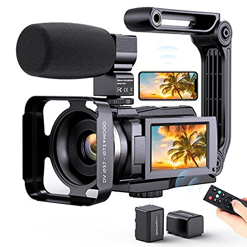 4K Video Camera Camcorder, Vlogging Camera for YouTube with Microphone, Digital Camera Remote Control and Touch Screen,Night Vision Recorder with WiFi 48MP 16X Zoom Stabilizer