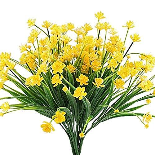 YYHMKB Flores Artificiales Falsas 4 Piezas narcisos de plástico realistas Flores Verdor Arbustos Plantas Arbustos Interior Exterior Resistente a los Rayos UV Cesta Colgante Amarilla