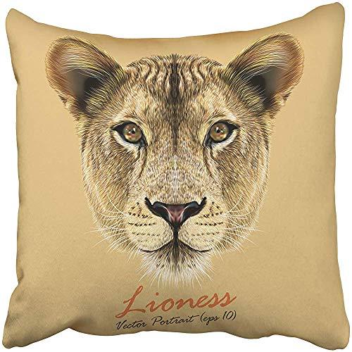 SSHELEY Kissenbezüge Hüllen Tierporträt der Löwin Nettes und großes Katzengesicht Afrikanischer Löwe Safari Afrika Cartoon Kissenbezüge Hülle Kissen