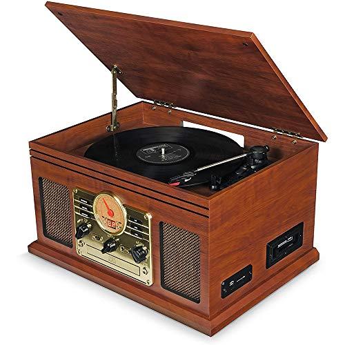 Ashey Tocadiscos, Minicadena Estéreo, Tocadiscos con Bluetooth, Reproductor De CD, MP3, USB,...