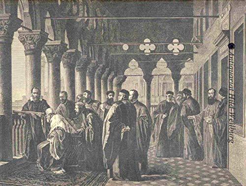 Galileo Galilei - Galilei und der Doge von Venedig. Ansicht mit dem Senat, der Doge schaut durch das, von Galilei gezeigte Fernrohr. [Grafik]