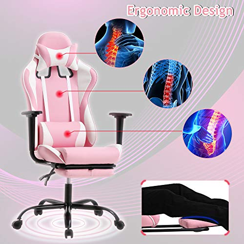 Ergonomic Racing Chair Rolling Swivel PC Gaming Chair for Girls Lumbar Support for Executive Office Computer Chair with Footrest & Arms High Back PU Leather Chair with Adjustable Backrest&Pillow