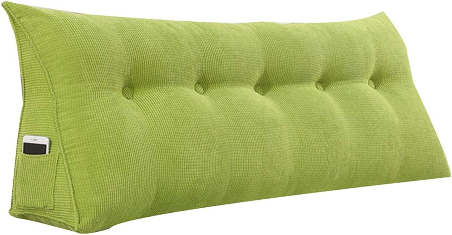LXLIGHTS Headboard Bedside Cushion Backrest Waist Pad Bed Wedge Bay Window Sofa Pillows, Easy to Install Removable (color   Green, Size   60  50  22cm)