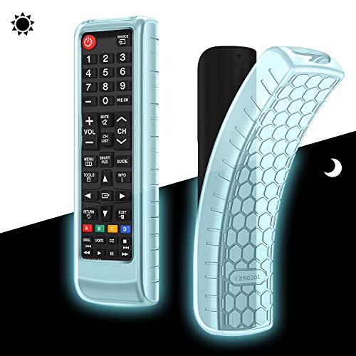 CaseBot Silicone Case for Samsung TV Remote, (Honey Comb) Lightweight Anti Slip Shockproof Cover for Samsung BN59-01315A BN59-01199F AA59-00666A BN59-01301A Remote, Blue-Glow in The Dark