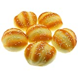 Gresorth 6 PCS PU Material Fake Cake Artificial Sesame Bread Decoration Model Kitchen Toys Photography Prop