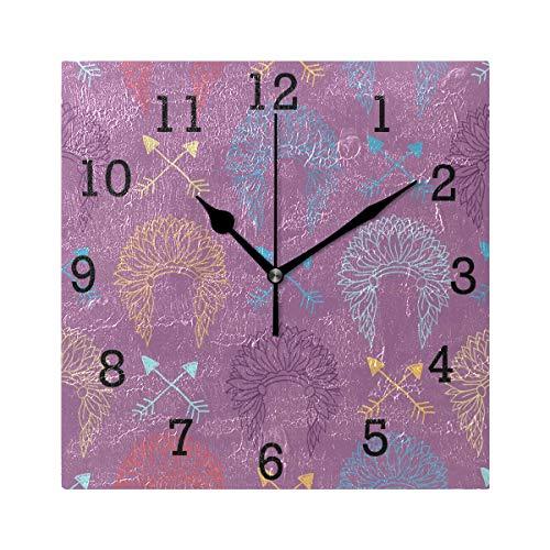 EZIOLY Indianer-Wanduhr, quadratisch, Nicht tickend, digital, leise, dekorative Uhren für Küche, Schlafzimmer, Wohnzimmer