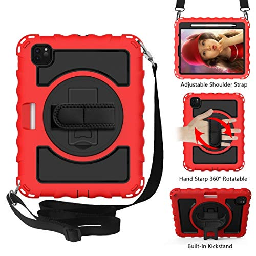 For IPad Air 360 Degree Rotation PC + Silicone Shockproof Combination Case With Holder & Hand Grip Strap & Neck Strap LiMinHua (Color : Red)