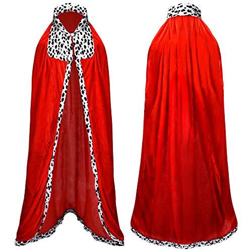 Proumhang Mantello del Re Costume da Re per Adulto Costume Bambino da Principe Halloween Costume Carnevale Natale Rosso