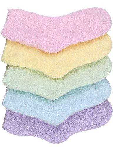 HASLRA Pastel Solid Premium Soft Warm Microfiber Fuzzy Socks 5 Pairs (Mix4)