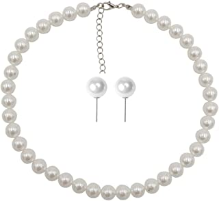 Faux Pearl Necklace Set Strand Pearl Stud Earring for Women Wedding