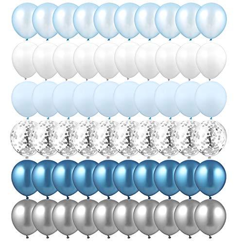 GAGAKU Metallic Luftballons Konfetti Garland Arch Kit Blau für Hochzeit Geburtstag, 60 Stück 12 Zoll Latex Ballons mit Luftschlangen Silber Party Dekorationen