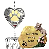 BANBERRY DESIGNS Cat Memorial Gift Set - Paw Prints on My Heart Winchimes and Small Cat Garden Stone -