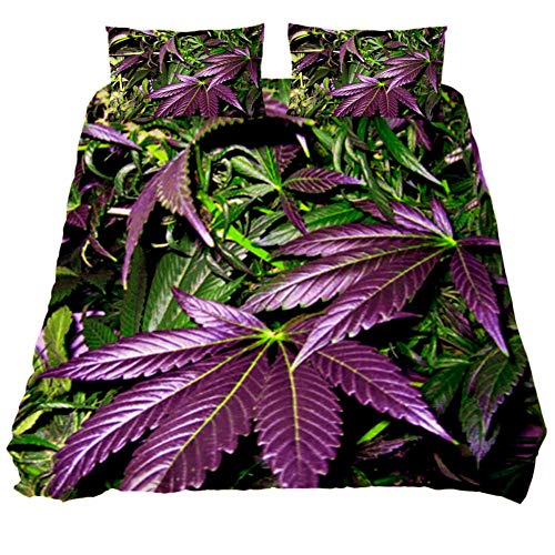 MUOOUM Purple Marijuana Weed Leaf Duvet Cover Queen 3pc Cover Set Comforter Bedding Cover with 2 Pillow Case
