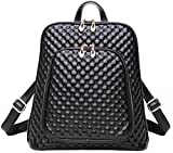 Coolcy Women's Leather Backpack Casual Shoulder Bag (Black)