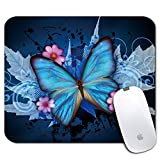 Personalized Rectangle Mouse Pad, Printed Cute Blue Butterfly Pattern, Non-Slip Rubber Comfortable Customized Computer Mouse Pad (9.45x7.87inch)