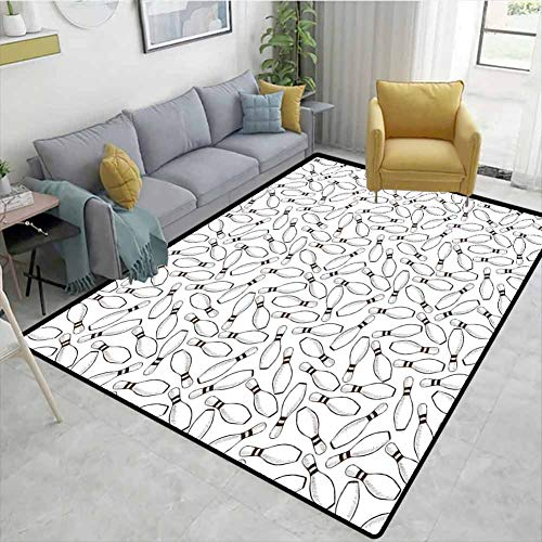 Great Price! Bigdatastore Bowling Party Decorations Floral Area Rug Soft, Sketchy Bowling Pins Patte...