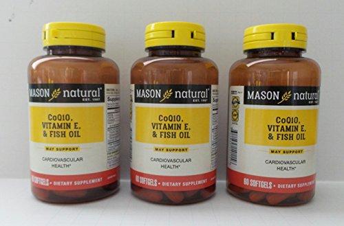 Mason Natural Heart Trio Co Q-10, Vitamin E and Fish Oil Softgels 60 Soft Gels (Pack of 3)