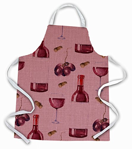 Caroline's Treasures BB5195APRON Tablier en lin avec inscription « Red Wine on Linen », polyester, multicolore