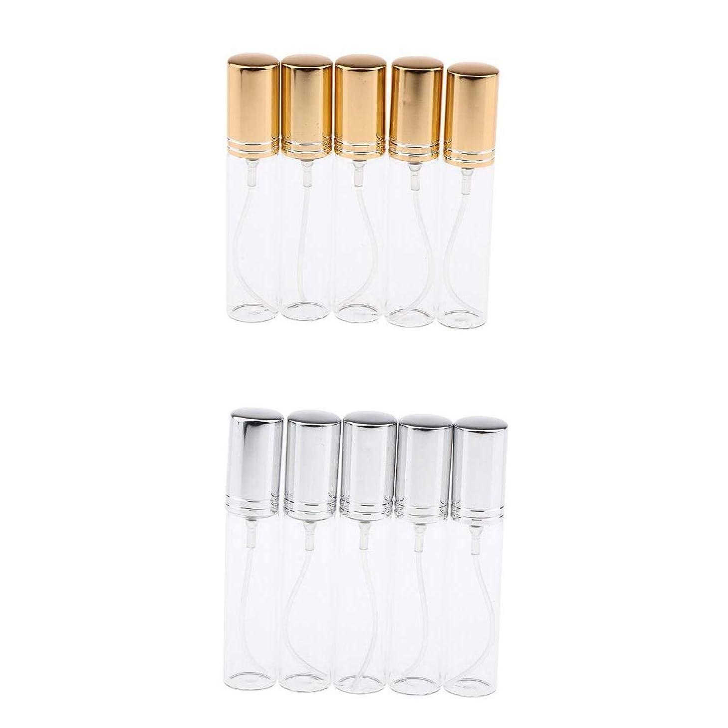 遮る切り離すシンプルさP Prettyia ガラス製 10点 10ミリリットル 詰め替え式 空のボトル 香水瓶