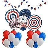 Fiesta del día de la independencia americana Colgantes de papel para colgar decoraciones Conjunto patriótico de decoración - Incluye 6 piezas de papel Abanicos de papel 30 PCs Azul Rojo Globos blancos