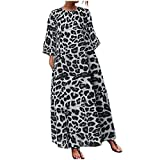 Looka33 Women Dress Summer Material Cotton Sexy Plus Size Fashion O Neck Loose Three Quarter Sleeve Leopard Printed Long Maxi