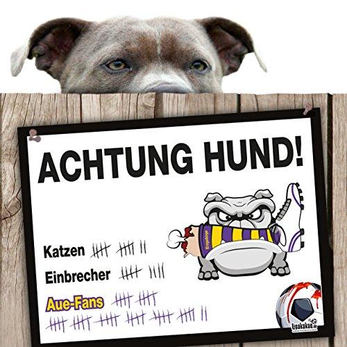 Hunde-Warnschild Schutz vor AUE-Fans | Dynamo Dresden-, FSV Zwickau & alle Fußball-Fans, Dieser Revier-Markierer schützt Haus & Hof vor AUE-Fans | Achtung Vorsicht Hund Bissig
