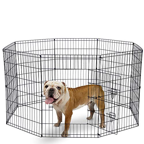 Dog Exercise Pen Pet Playpens for Large Dogs - Puppy Playpen Outdoor Back or Front Yard Fence Cage Fencing Doggie Rabbit Cats Playpens Outside Fences with Door - 36 Inch Metal Wire 8-Panel Foldable