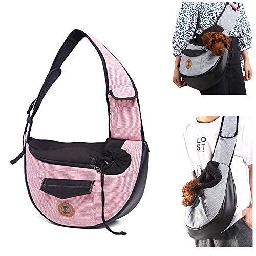 AlwaySky Pet Sling Carrier, hond Sling Bag opvouwbare katoenen Cat Carrier lichtgewicht huisdier draagtas handsfree Sling rugzak voor outdoor reizen wandelen winkelen wandelen, 1, roze