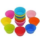LIHAO 40 x Moldes Magdalenas Silicona para Muffins Cupcakes (8 Colores)