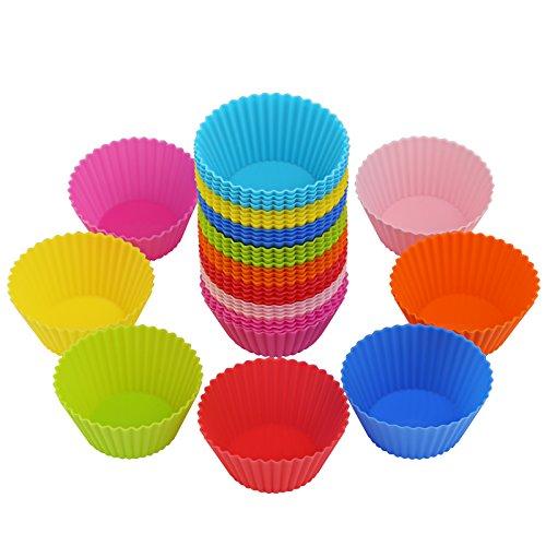 LIHAO 40 Moules à Muffin Moules de Cuisson en Silicone Réutilisables Anti-adhésif pour Cupcake Gâteau Décoration