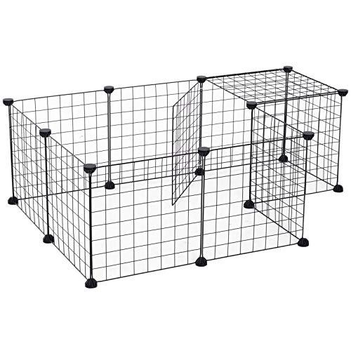 Pawhut Gittergehege Freigehege Laufgehege für Kleintiere Laufstall Kleintierkäfig Metallgitter flexibel umformbar Schwarz 106 x 73 x 36 cm