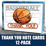 "Play Strong Basketball Thank You Note Cards (4.25""x5.5"") 12-Pack Sports Powercard Note Card Set 12-Pack, Perfect for Youth Sports #AllProfitsToHelpKids"