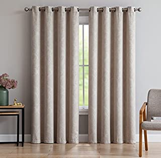 (1 panel 140cm W x 240cm L, Ivory) - Evelyn - Embossed Thermal Weaved Blackout Curtain With 8 Grommets - Room Darkening & ...