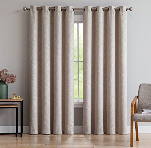 "Evelyn - Embossed Thermal Weaved Blackout Curtain With 8 Grommets - Room Darkening & Noise Reduction Fabric - Blocks up to 97% of Sunlight - Premium Draperies (1 panel, 54""W x 84""L, Ivory)"
