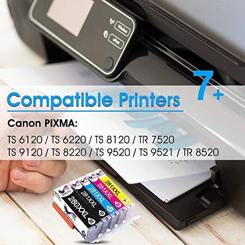 ONLYU Compatible Ink Cartridge Replacement for Canon 280 281 PGI-280XXL CLI-281XXL PGI 280 XXL CLI 281 XXL PIXMA TR7520 TR8520 TS6120 TS6220 TS8220 TS9120 TS9520 TS9521C Printer (5 Pack) Photo #4