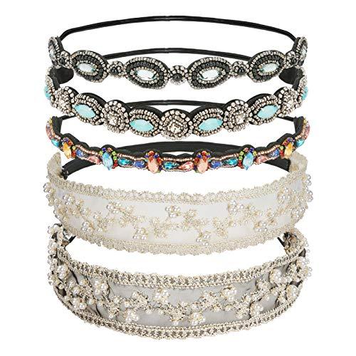 WIOR 5Pcs Crystal Rhinestone Headbands for Women, Fashionable Diamond Elastic Headbands, Beaded Elastic Hairband for Girls Lady Jewelry Hair Accessories 20-26.8'