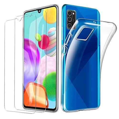 iLieber Samsung Galaxy A41 Hülle mit Panzerglas,[1 Hülle + 2 Panzerglas] Schutzhülle Schutzfolie Folie Glas TPU Silikon Case Cover Tasche Schale Weiche Transparent für Samsung Galaxy A41