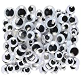 Creativity Street Peel and Stick Wiggle Eyes Assorted, 7mm to 15mm, Black, 100-Pack