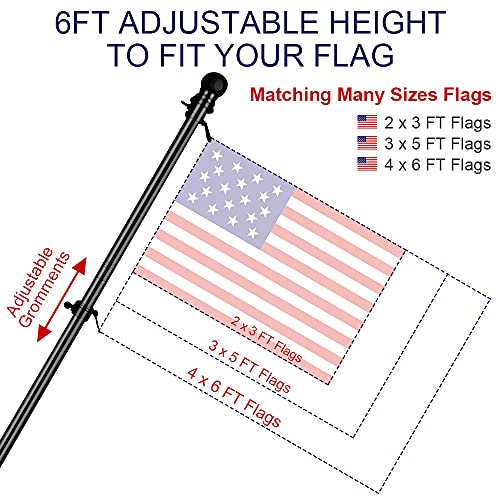 ZMTECH Flag Pole Kit for House, 6 FT Flag Pole with Bracket for American Flag, Stainless Steel Flag Pole for Outside House Garden Yard, Residential or Commerical Flag Pole Kit (Without Flag,Black)