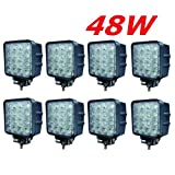 Miracle 8x LED 48W Faro de trabajo para trabajo lámpara 38006000K 67ip de marcha atrás?Tractor?Excavadora