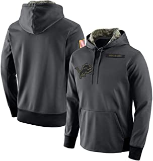 Dunbrooke Apparel Detroit Lions Black Salute to Service Sideline Therma Pullover Hoodie