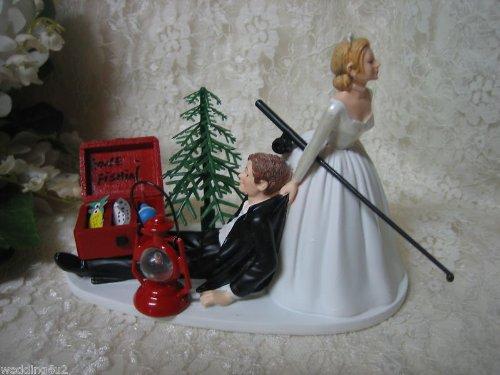 Wedding Gone Fishing Redneck bride groom Cake Topper