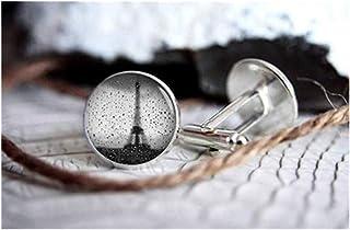 Gemelos con diseño de la Torre Eiffel con foto de la familia We are Forever Family, gemelos personalizados, regalos para h...