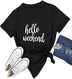 Women's V Neck T Shirt Letter Print Short Sleeve Graphic Tops Tees