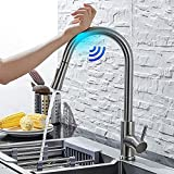 Touch On Kitchen Sink Faucets with Pull Down Sprayer, Stainless Steel High Arc 360 Swivel Kitchen Faucet with Two Water Flow Modes, Home Smart Single Handle Touch Sensor Faucet (Brushed Nickel)