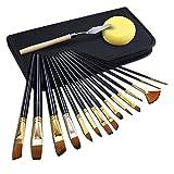 GHB 15 Stück Pinselset Künstlerpinsel Acrylpinsel für Acrylmalerei Aquarellmalerei Ölmalerei Flachpinsel Bürste mit Spachtel und Nylon Tasche Schwarz