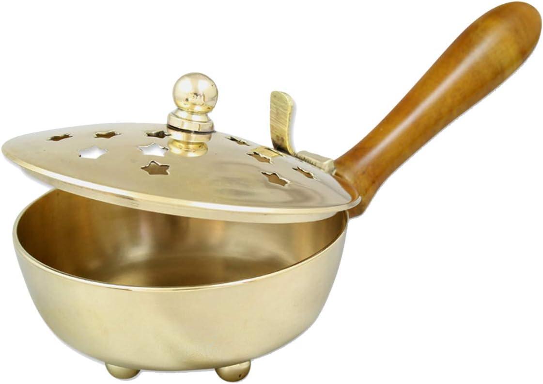 NKlaus cazo de Incienso con Mango de Madera auténtica de latón Dorado Ø 9cm para Incienso Modo de Funcionamiento Incienso carbón Quemador Hecho a Mano 2172