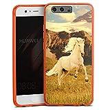 Silikon Hülle Hülle Schutzhülle für Huawei P10 Weisses Pferd Hengst Mustang Stute